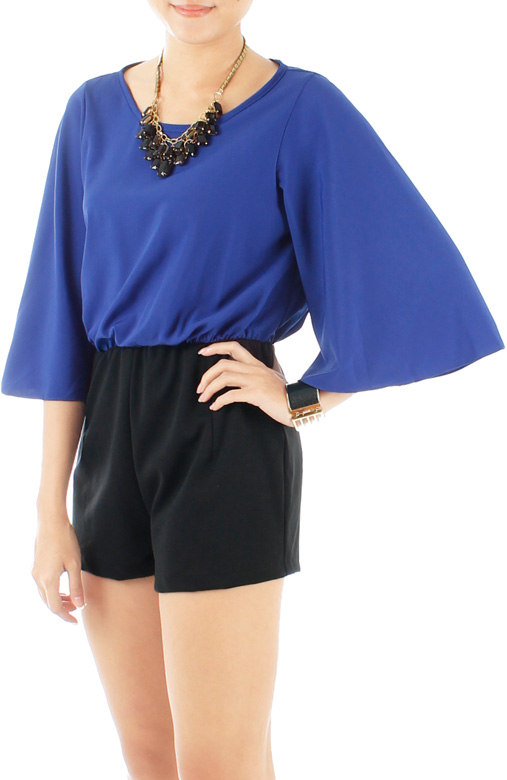 Blue Destiny Playsuit with Bell Sleeves