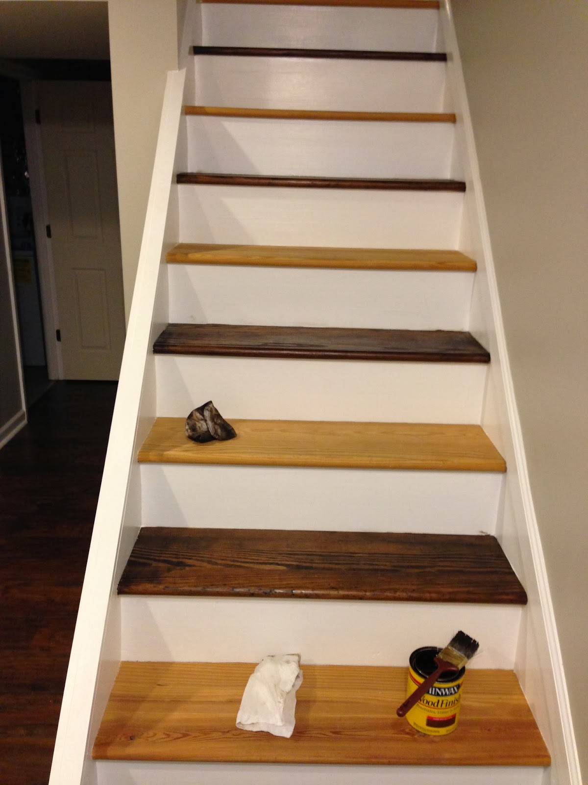 I Did The Same Method When Staining The Stairs. I Carefully Stained The  Steps  Trying Not To Get Any On The Risers Or Trim. After 15 Minutes, I  Wiped The ...