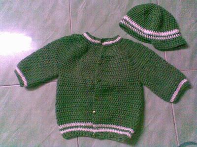 bộ mũ và áo len cho bé trai