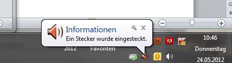 Windows: Ein Stecker wurde eingesteckt.