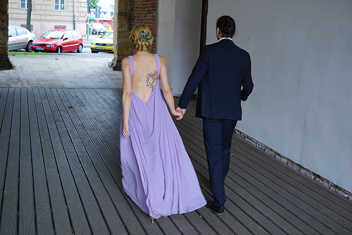 Skinny Buddha bride purple wedding dress