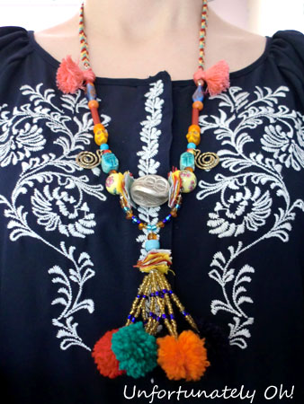 ethnic pompom necklace