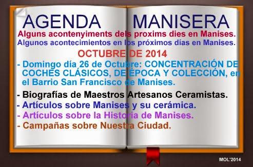 AGENDA MANISERA SEMANA 43 DE 2014