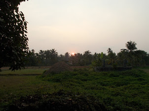 Beautiful Sunset over  the countryside of Barkur Village.