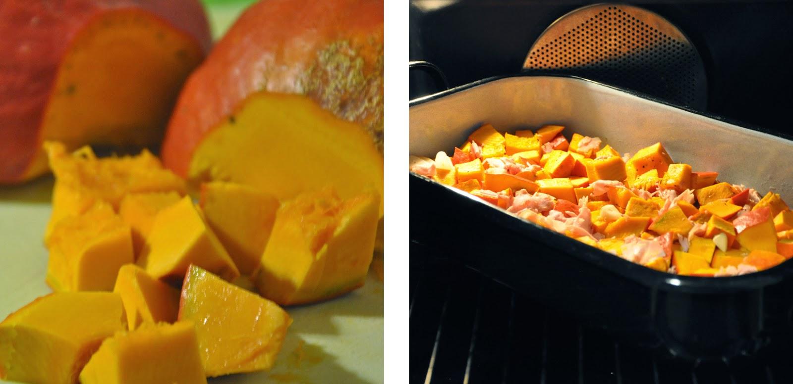 Kürbis-Caprese deluxe | Kürbis würfeln und mit Knoblauch und Schinken im Ofen backen