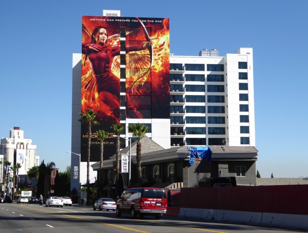 Giant Mockingjay Part 2 movie billboard Sunset Strip