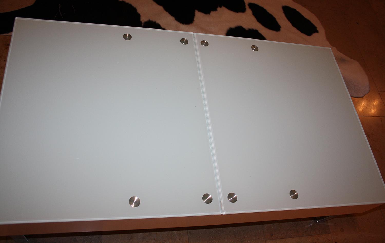 designer tisch coachtisch milchglas ablage ausziehbar np. Black Bedroom Furniture Sets. Home Design Ideas