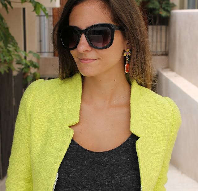 Jewelmint Sugar Pop Earrings. Neon Yellow Blazer. Black Cat Eye Sunglasses