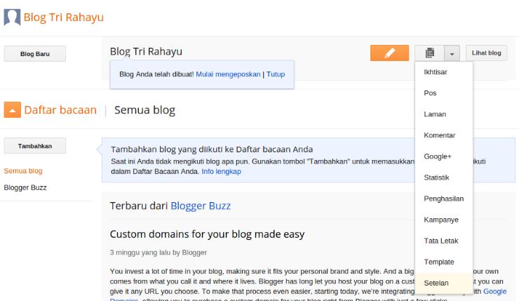 membuat judul dan deskripsi blog