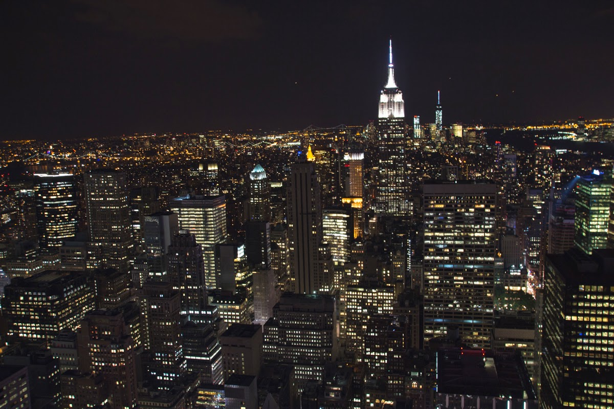 nyc top of the rock night evening