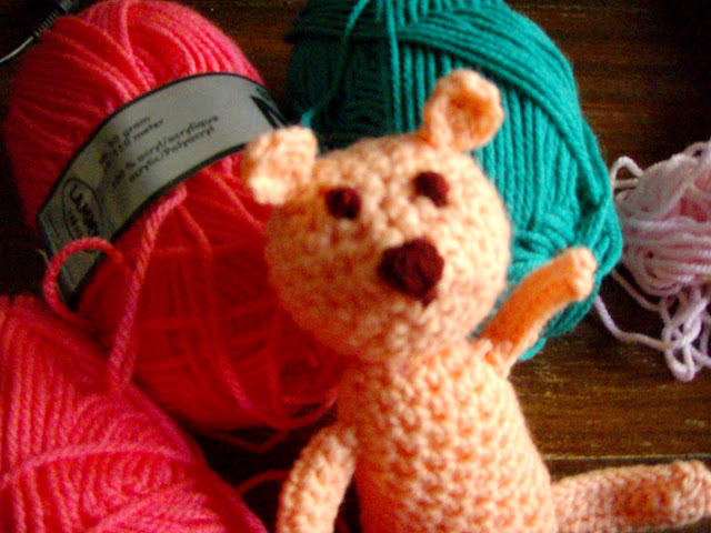 crochet teddy little funny plush toy closeup