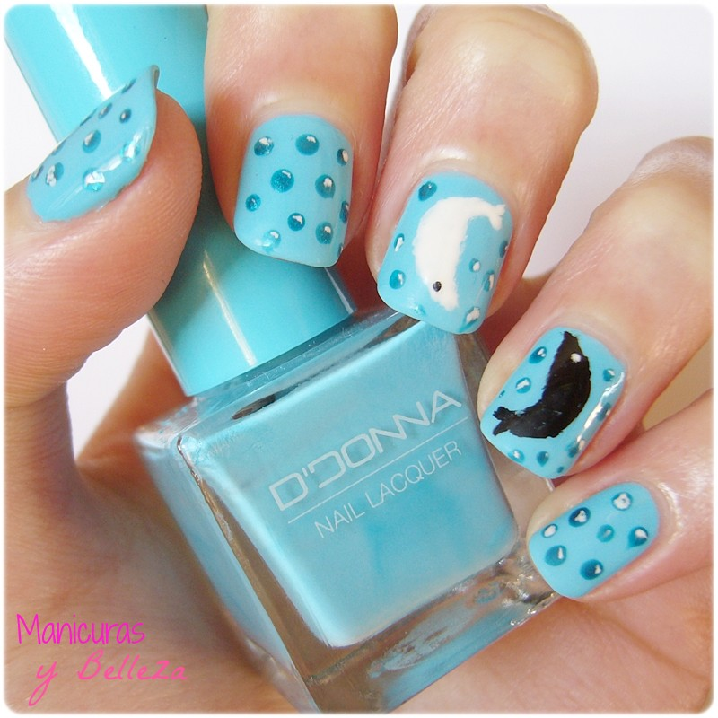 nail art blue sea bubbles fish fishes nails pisces uñas de piscis con peces burbujas marina marinera azul manicura