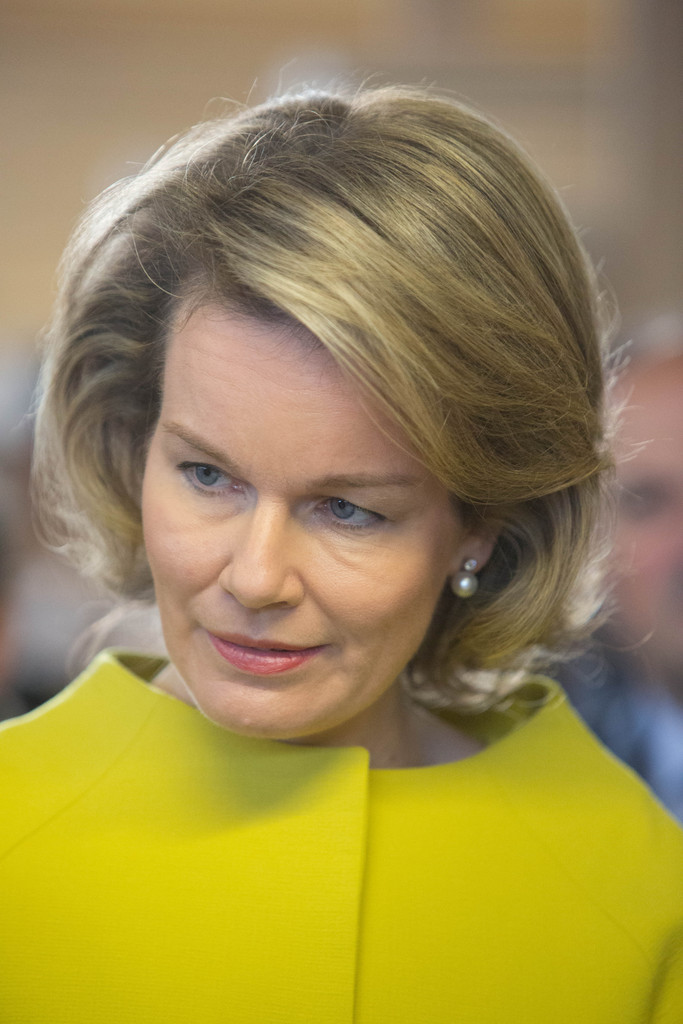 Queen Mathilde of Belgium visits Mathy by Bois in Couvin in Namur,