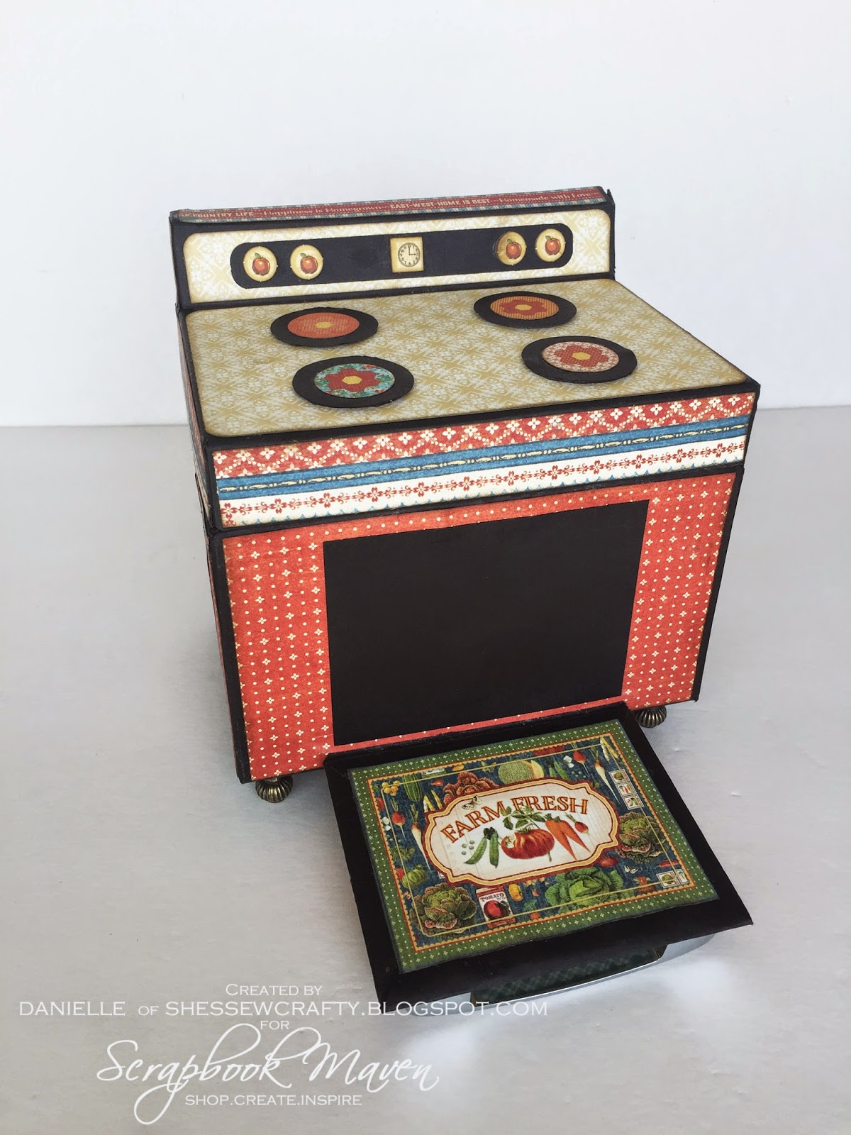 Retro Stove/Oven Recipe Box using graphic 45 Home Sweet Home Design Team Final Round Project