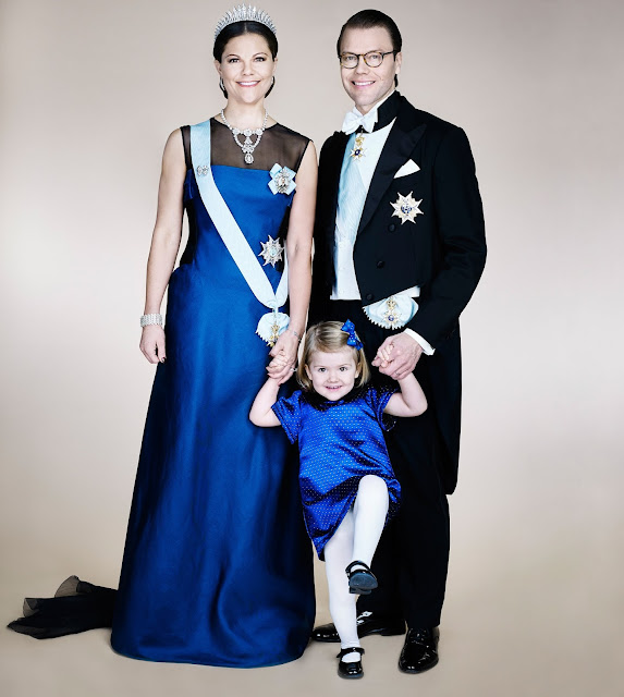 Crown Princess Victoria, Prince Daniel and Princess Estelle New official portrait of Swedish Crown Royal Family