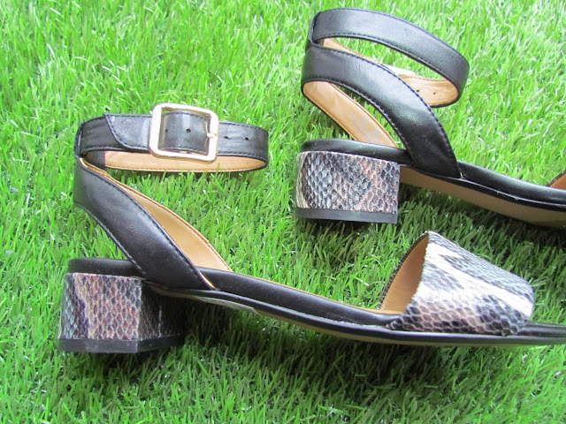 Snake effect block heel sandals from Clarks