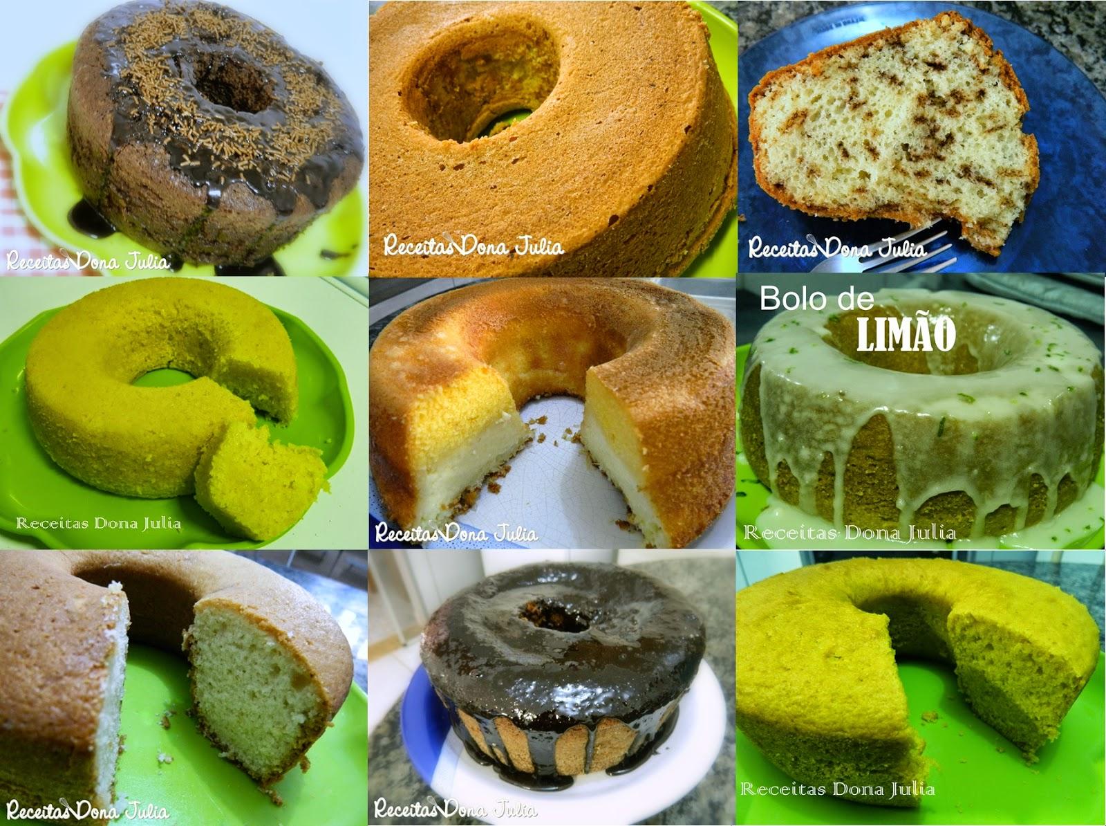 Seleção de bolos caseiros