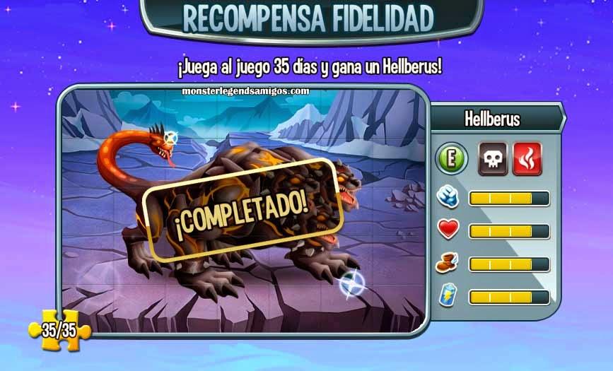 imagen del monstruo hellberus de la recompensa fidelidad de monster legends