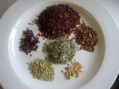 Bulk herbs on a plate.