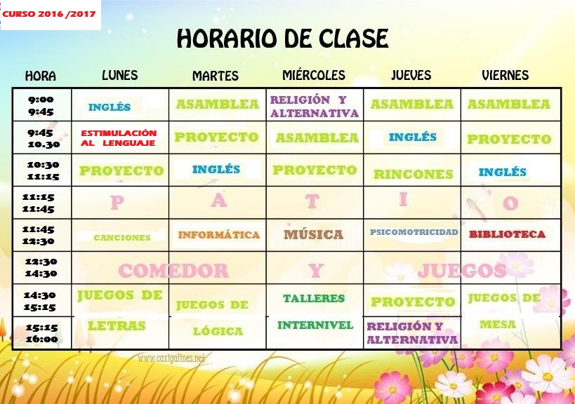 Horario curso 2016/17