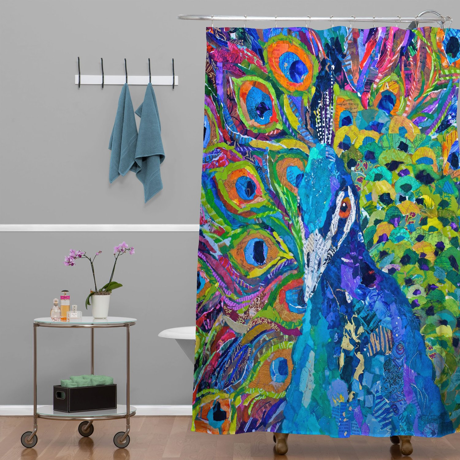Total fab peacock themed bathroom decor accessories Nature inspired shower curtains