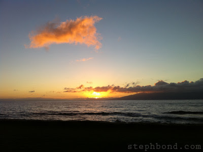 Sunset over the ocean from West Maui