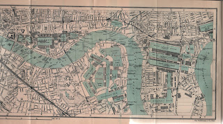 Map of part of East London and London Docklands from 1928 guide book