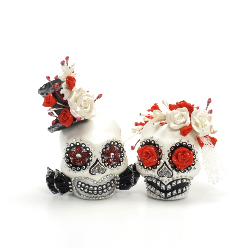 day of the dead wedding cake topper mexican skull 00144