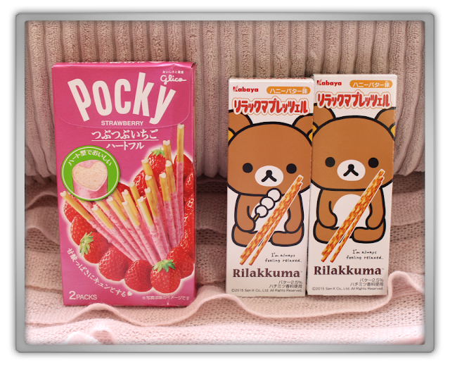 Candysan Japanese Candy Haul Review crisp nissin strawberry pocky pretz salade Copan Garlic hello kitty Biscuits frozen rillakuma heart Bretzels bourbon frozen