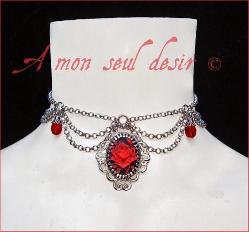 Collier Rose Rouge Camée Gothique Victorien Romantique Red Flower Cameo Victorian Gothic Goth Necklace Jewellery Passionnément