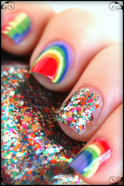 rainbow nail polish design
