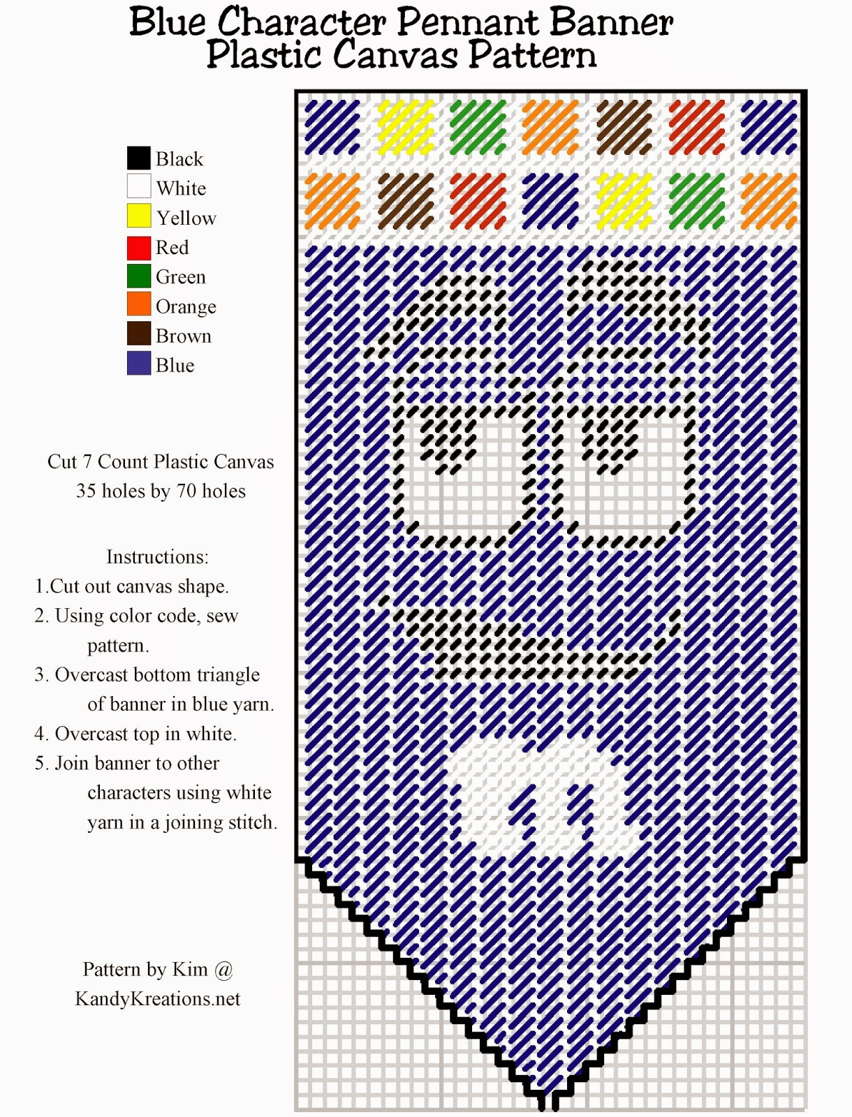 Make your own pennant banner with the blue M&M character using this Plastic canvas pattern freebie.  Simply right click and save this pattern to create your own party decoration or kitchen decor.