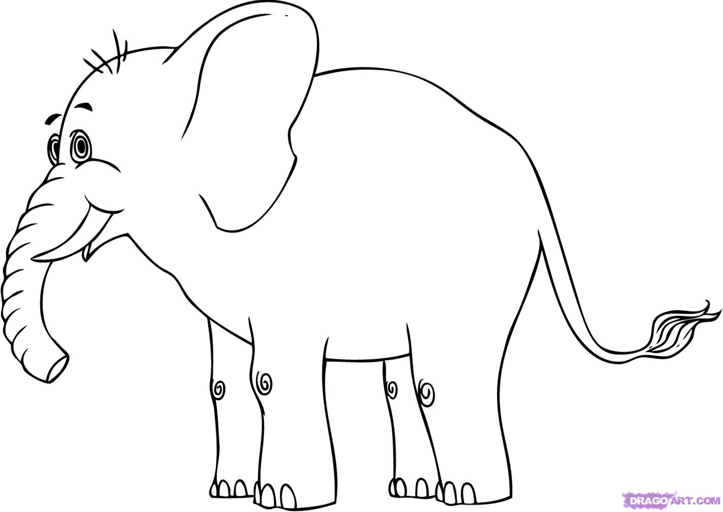 Line Drawing Elephant : Elephant drawing pictures