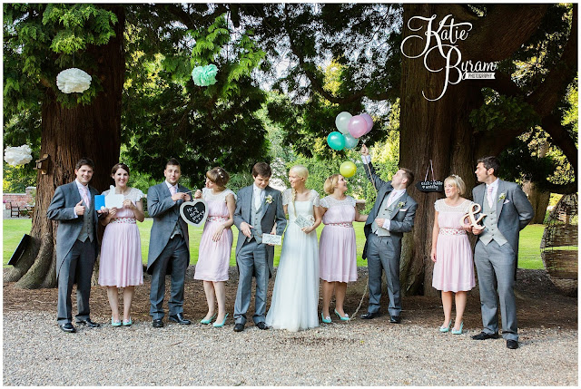 fun wedding party, fun group shot, eshott hall, eshott hall wedding, morpeth wedding, katie byram photography, vintage wedding