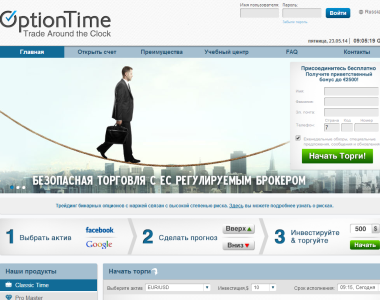 Сайт брокера OptionTime