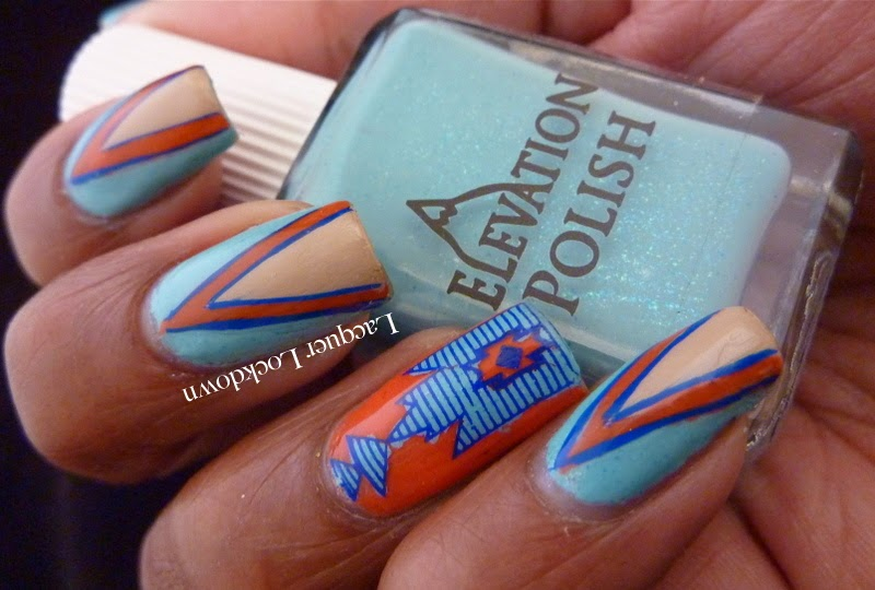 Lacquer Lockdown -  Elevation Polish Summit Collection #1, Elevation Polish Punchak Jaya, nested triangle nail art, Elevation Polish Cerro Torre 2, Elevation Polish Sarychev,  Mundo de Unas stamping polish, MoYou London Explorer 14, stamping, nail art,  Explorer 14, Pueen 2014, tribal nails, scotch tape mani, tribal nail art, spring nail art, diy nail art, nail art ideas, cute nails, easy nail art