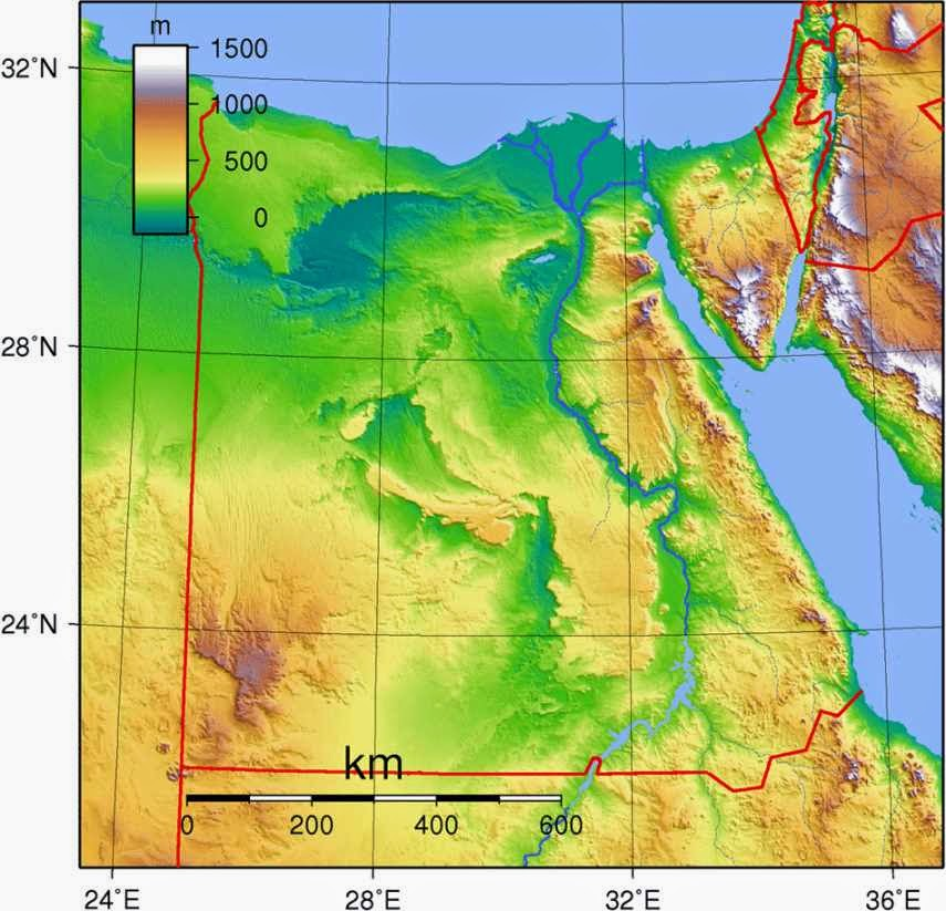 Egypt physical map showing land features and elevations.