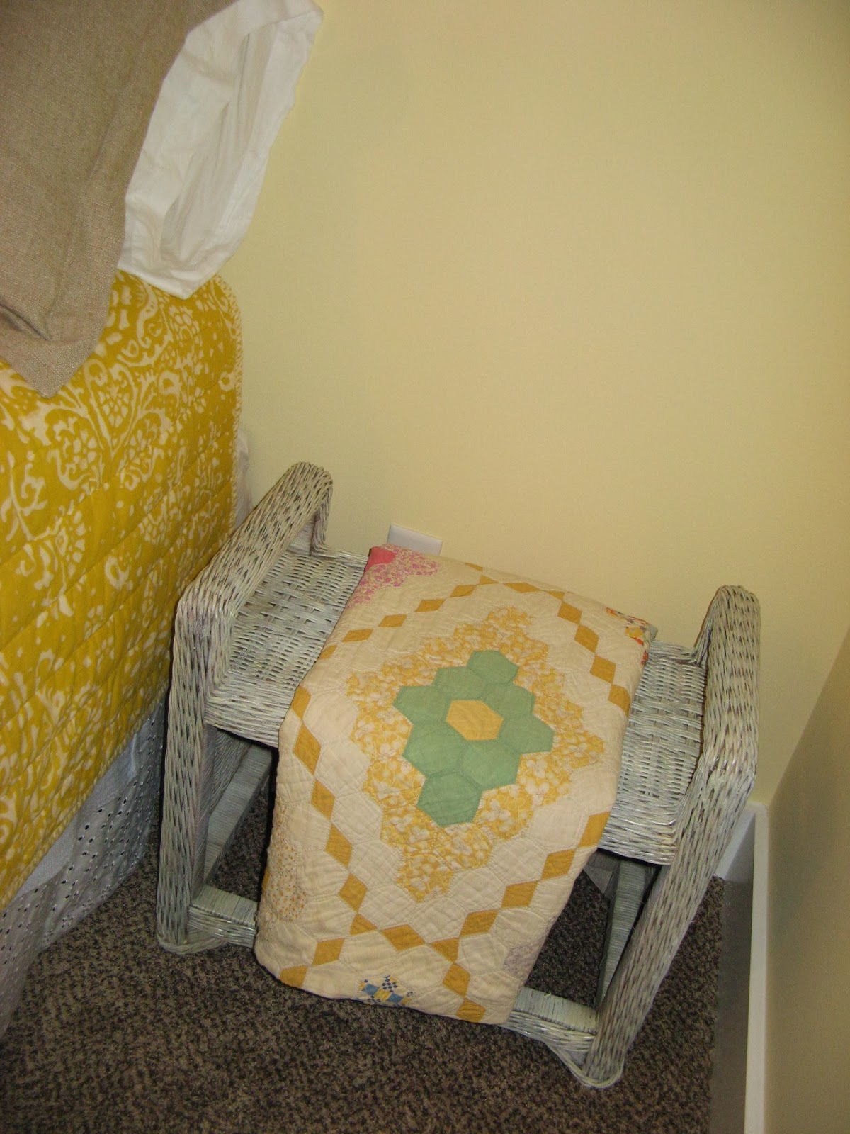 Upcycled White Washed Wicker Tables - Yellow Bedroom