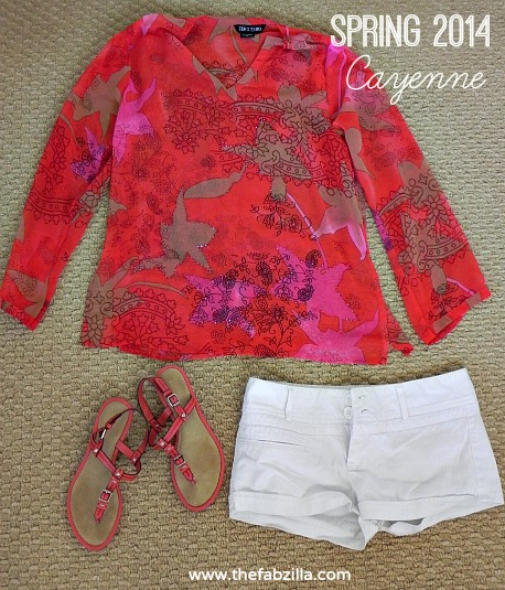 spring 2014 pantone, cayenne, outfit