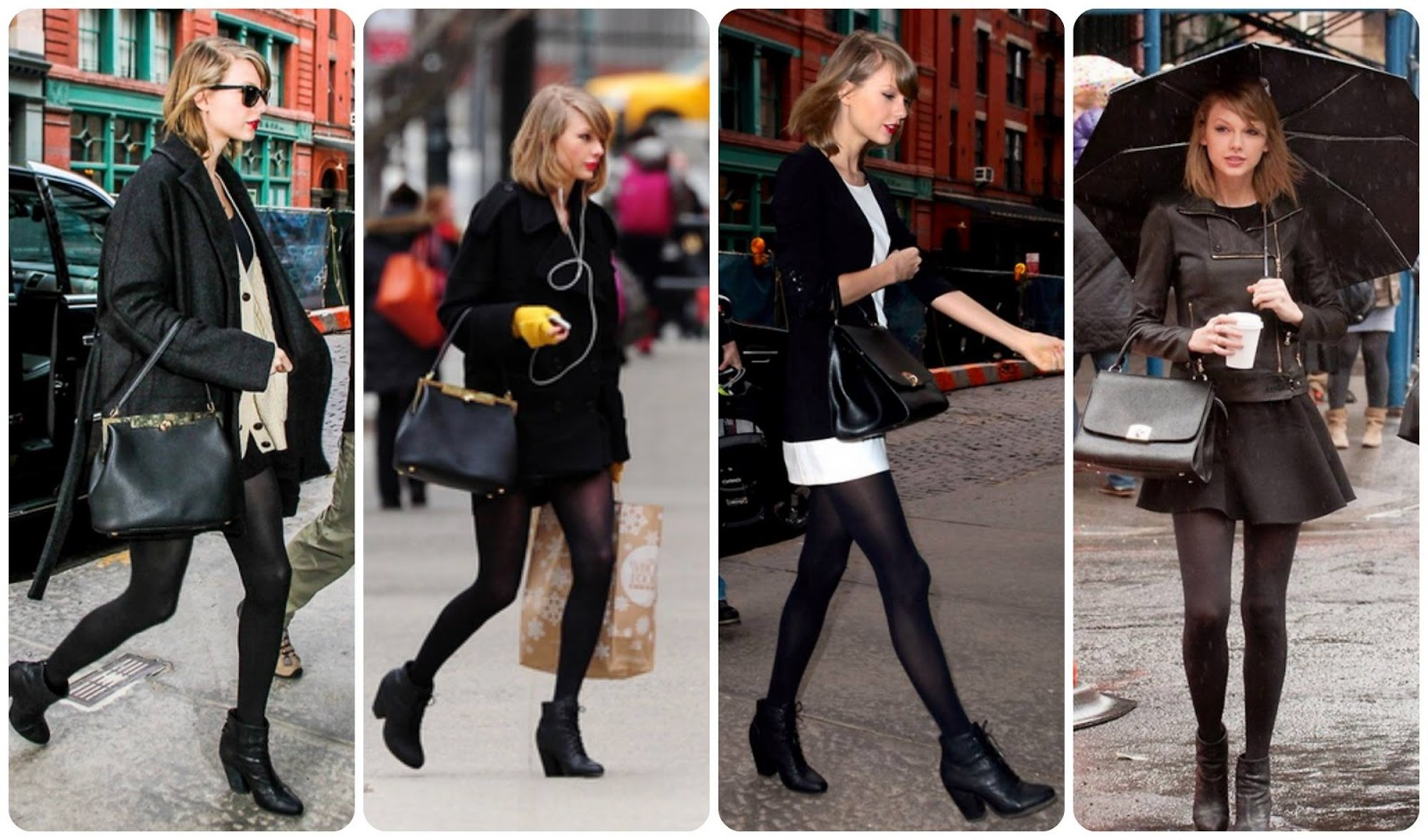 Taylor Swift street style total black New York 2014