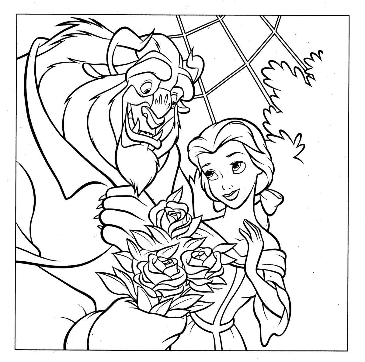 Beauty and the beast belle coloring pages download kids for Beauty and the beast coloring pages disney