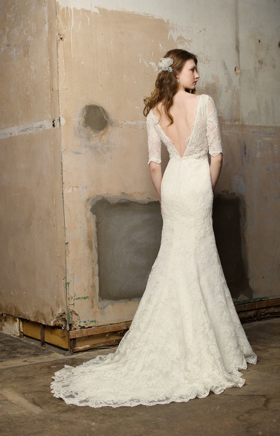 Blog of Wedding and Occasion Wear: Open Back Lace Sleeved Wedding ...