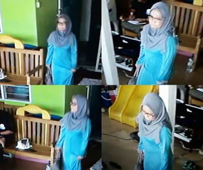Video Wanita Berkacamata & Berbaju Kurung Biru Mencuri Ditaska Berjaya Dirakam CCTV