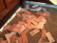 Messages on the Griffith Park Teahouse floor, July 24, 2015