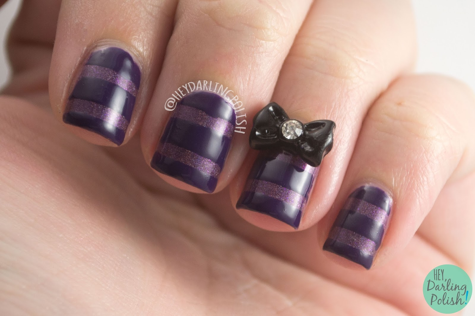 purple, let your hair down, stripes, bow, nails, nail art, nail polish, indie polish, fair maiden polish, hey darling polish,