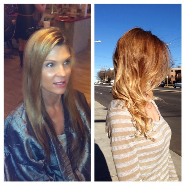 Ombre blonde hair done for easy to maintain hair color and styles.