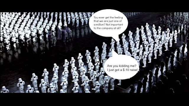 stormtroopers in formation assembly complaining about pay and worth