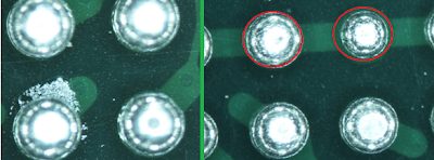 Solder sphere contamination and different sized solder spheres