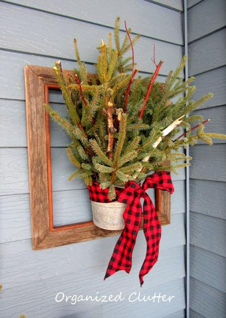Barnwood Framed Christmas Greenery www.organizedclutterqueen.blogspot.com