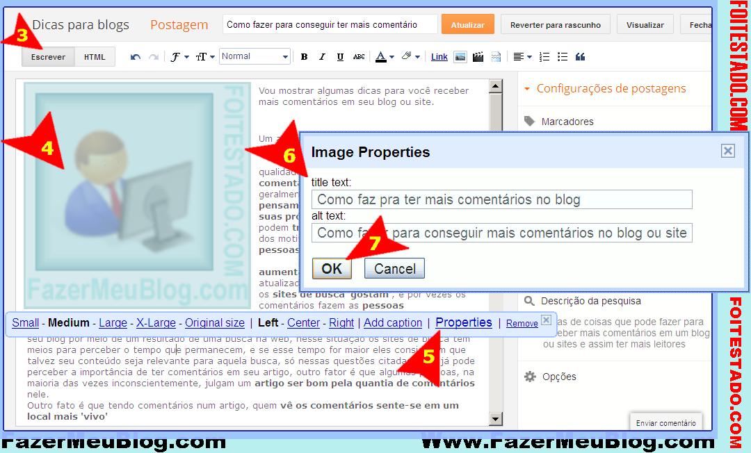 Dicas seo colocar alt e title em imagens da postagem de blogs do blogger